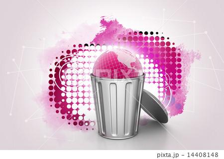 Globe in trash binのイラスト素材 [14408148] - PIXTA