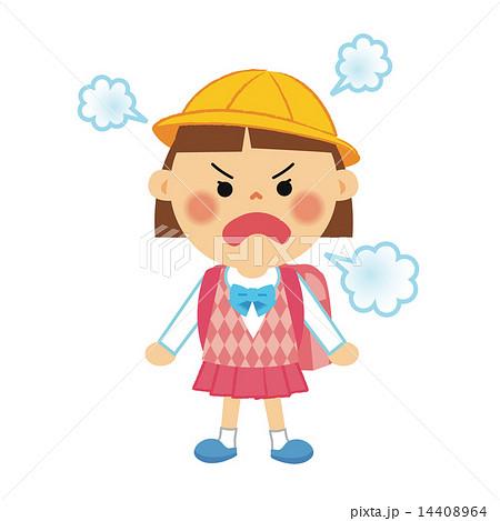 小学生 女の子 怒りのイラスト素材 14408964 Pixta