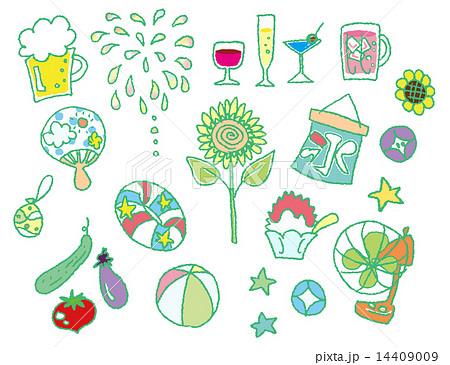 手書き風夏の風物詩のイラスト素材 14409009 Pixta