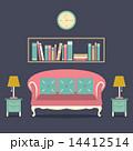 書架 書棚 ソファーのイラスト 14412514