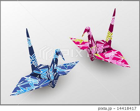 青と赤の折鶴 14418417
