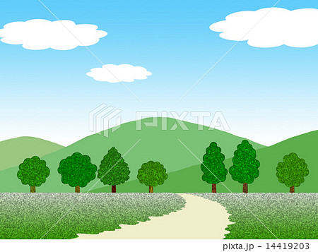 山と木と道のイラスト素材 14419203 Pixta