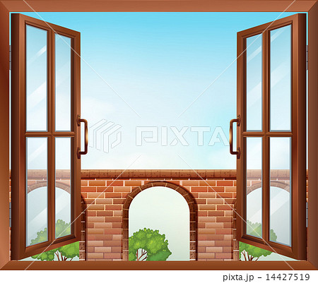 an open window with a view of the gateのイラスト素材 14427519 pixta