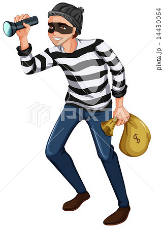 A robber with a flashlight and a bag 14430064