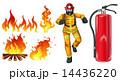 火災 消防士 消火器のイラスト 14436220