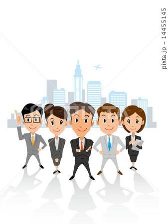 ビジネス グループ ビル群 縦長 14455145