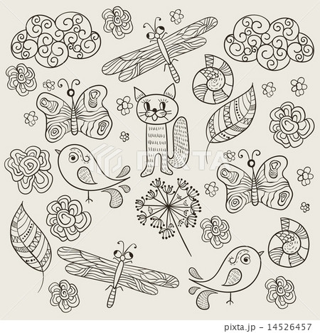 vector pattern with simple drawingsのイラスト素材 14526457 pixta