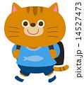 登校 小学生 ネコのイラスト 14527473