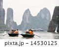 ハロン湾 手漕ぎ舟 奇岩の写真 14530125