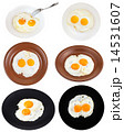 set from two fried eggs on plates isolated 14531607