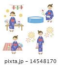 浴衣 ベクター 人物のイラスト 14548170