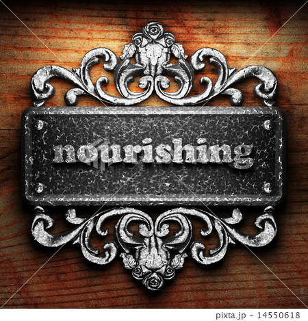 nourishing word of iron on wooden background 14550618