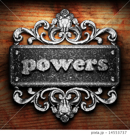 powers word of iron on wooden background 14553737
