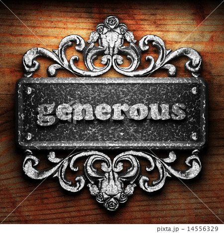 generous word of iron on wooden background 14556329