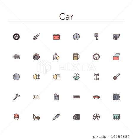 Car Colored Line Icons 14564384