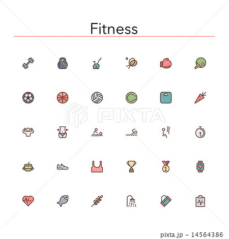 Fitness Colored Line Icons 14564386