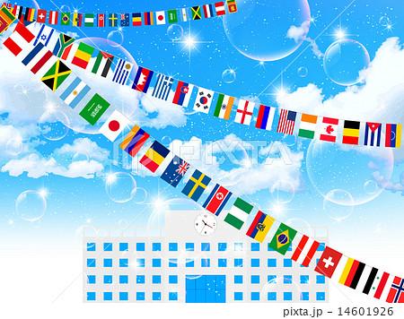 国旗 運動会 背景のイラスト素材 14601926 Pixta