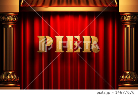 pier golden word on red curtain 14677676