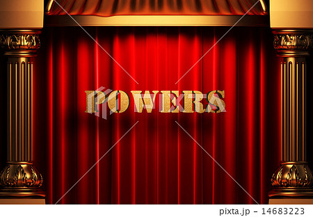 powers golden word on red curtain 14683223