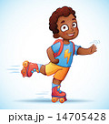 Little african american boy riding on roller skates. Happy child enjoys the speed and freedom 14705428