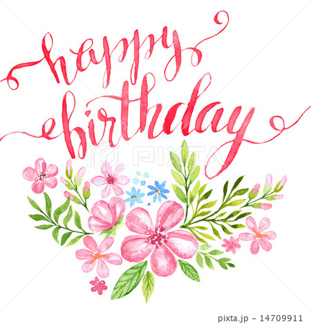 Happy Birthday Hand-drawn card. Vector illustration 14709911