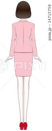 女性 スーツ ポーズ 後姿のイラスト素材 14715759 Pixta