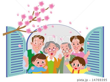 窓辺の桜を見る家族 14769395