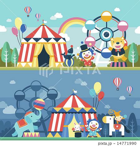 ゆうえんち アミューズメントパーク 遊園地のイラスト素材 14771990