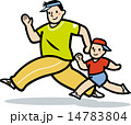 親子 走る ランニングのイラスト 14783804