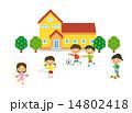 校庭で遊ぶ子供【二頭身・シリーズ】 14802418