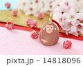 桜の花と干支 申と紅白の水引玉 横1 14818096