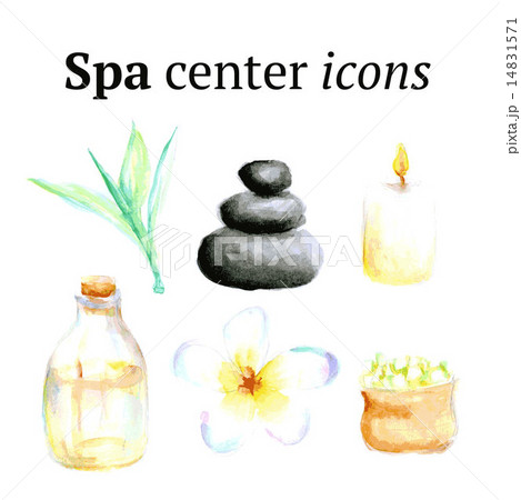 Watercolor spa icons in vintage styleのイラスト素材 [14831571] - PIXTA