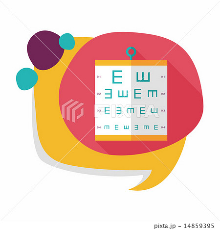 eye test chart flat icon with long shadow,eps10のイラスト素材 [14859395] - PIXTA