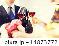 engaged couple with wine glasses 14873772