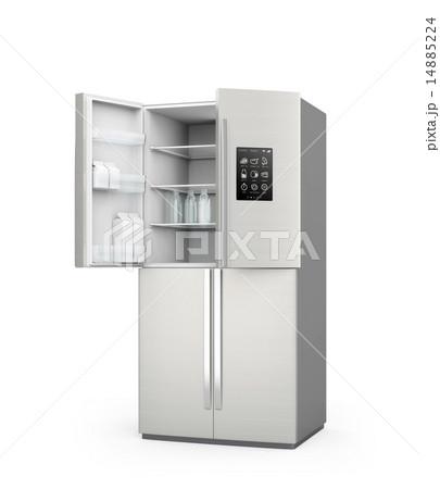 開いている冷蔵庫のタッチパネルにさまざまなアイコンがあり、モノのインタネットのコンセプト 14885224