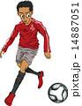 ベクター ドリブル サッカー選手のイラスト 14887051