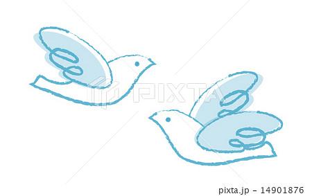 羽ばたく鳥クレヨンタッチのイラスト素材 14901876 Pixta