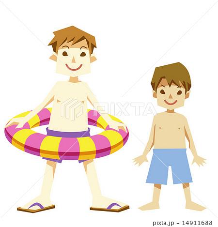 夏の水着の浮き輪少年たち 14911688