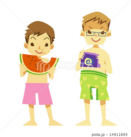 夏の水着のスイカ少年たち 14911693