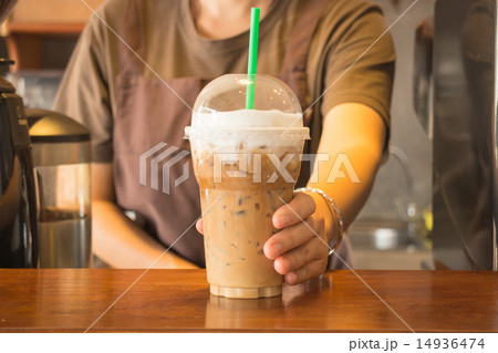 Pastic glass of iced coffee cappuccino 14936474