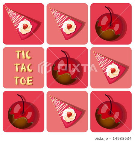 Tic-Tac-Toe of  cherry and strawberry cake 14938634