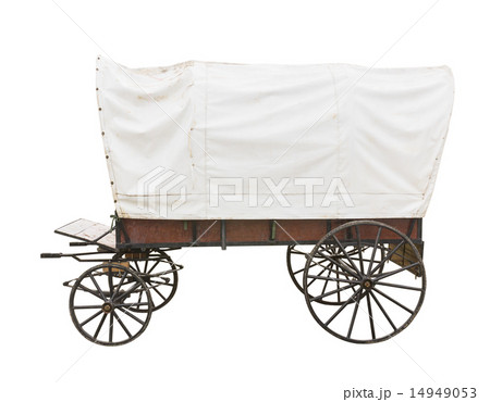 Covered wagon on whiteの写真素材 [14949053] - PIXTA