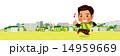 笑顔で楽しく街中をジョギングする男性 14959669