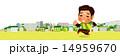 つらい表情で街中をジョギングする男性 14959670