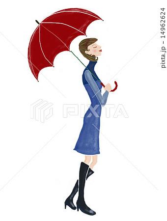 傘をさす女性のイラスト素材 14962624 Pixta