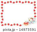 紅茶 フレーム 苺タルトのイラスト 14973591