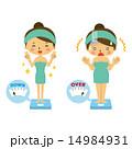 体重計に乗る女性のセット【二頭身・シリーズ】 14984931