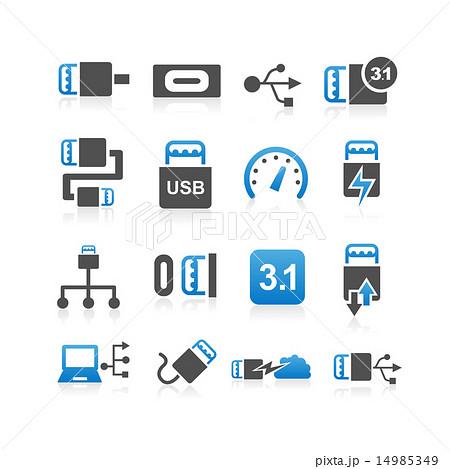 USB type C icon set 14985349
