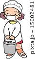 小学生 割烹着 給食当番のイラスト 15002481