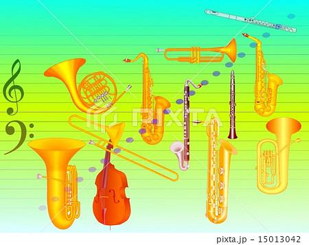 吹奏楽の楽器達のイラスト素材 15013042 Pixta